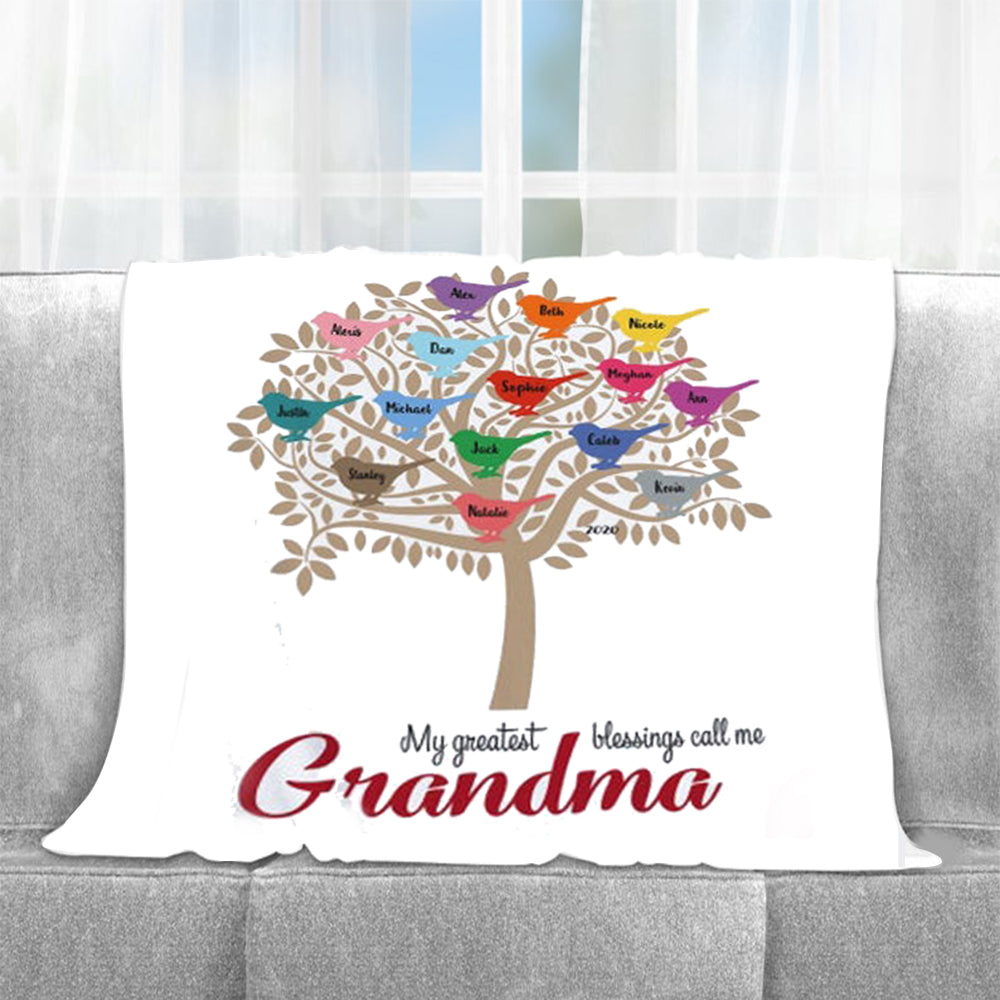 Personalized Family Tree Fleece Blanket with Nickname & Kids Names-BUY 2 SAVE 10%