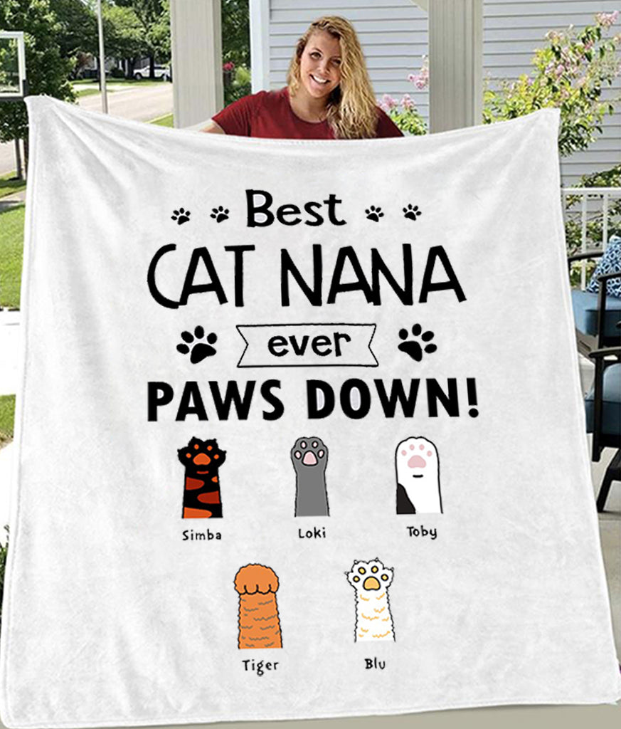Best Cat Parent Paws Down Customized Blankets with Title & Cats' Names