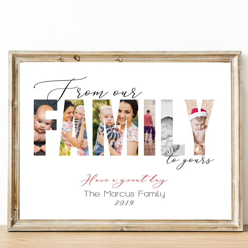 Custom From Our Family to Yours Photo Wall Art, Personalized Family Photo Canvas Print  15''*18''