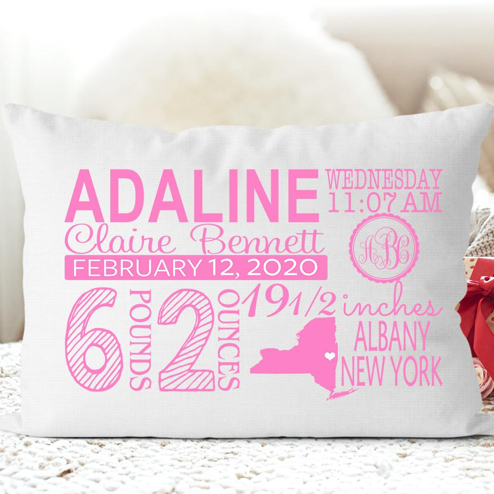 Personalized Birth Announcement Pillowcase for New Baby and Mom III