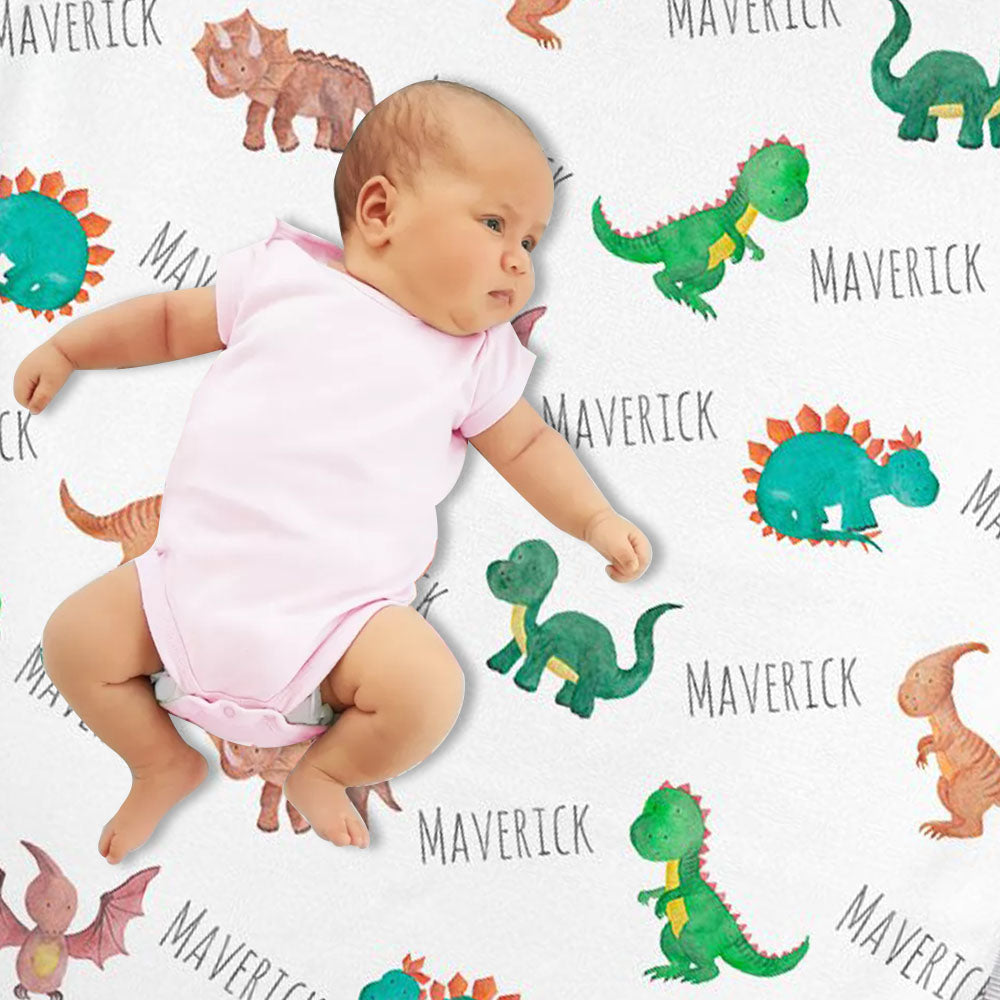 Personalized Dinosaur Watercolor Print Baby Name Blanket-BUY 2 SAVE 10%