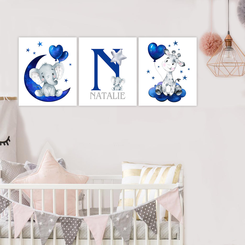 Personalized Initial & Name Blue Elephant & Giraffe Canvas Art - BUY 2 GET 10% OFF
