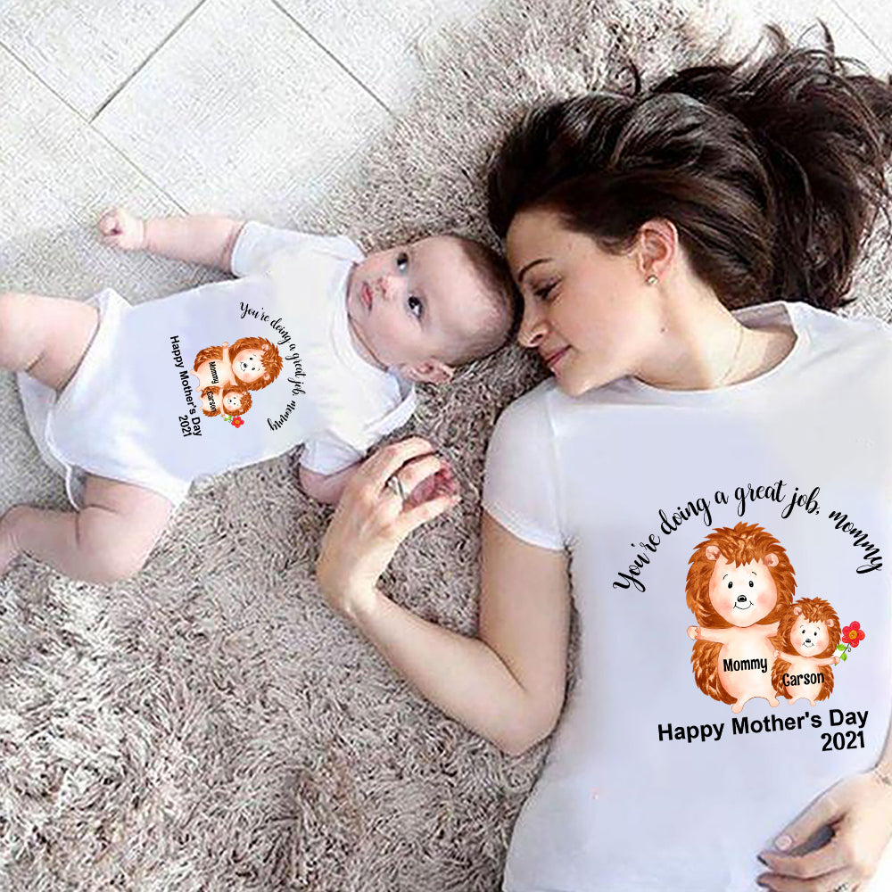 Custom Hedgehog Mother's Day Baby Onesies and Matching Mom Shirts