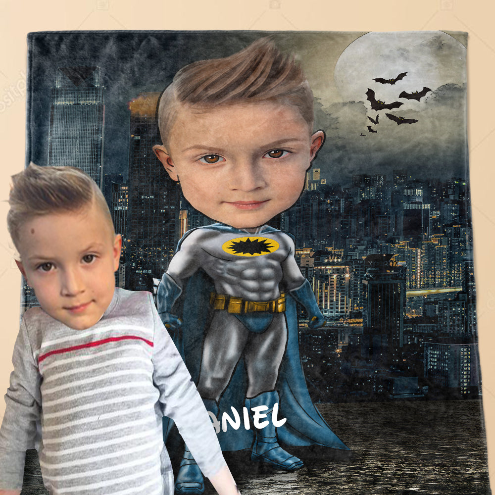Personalized Hand-Drawing Kid's Photo Portrait Fleece Blanket VI-BUY 2 SAVE 10%