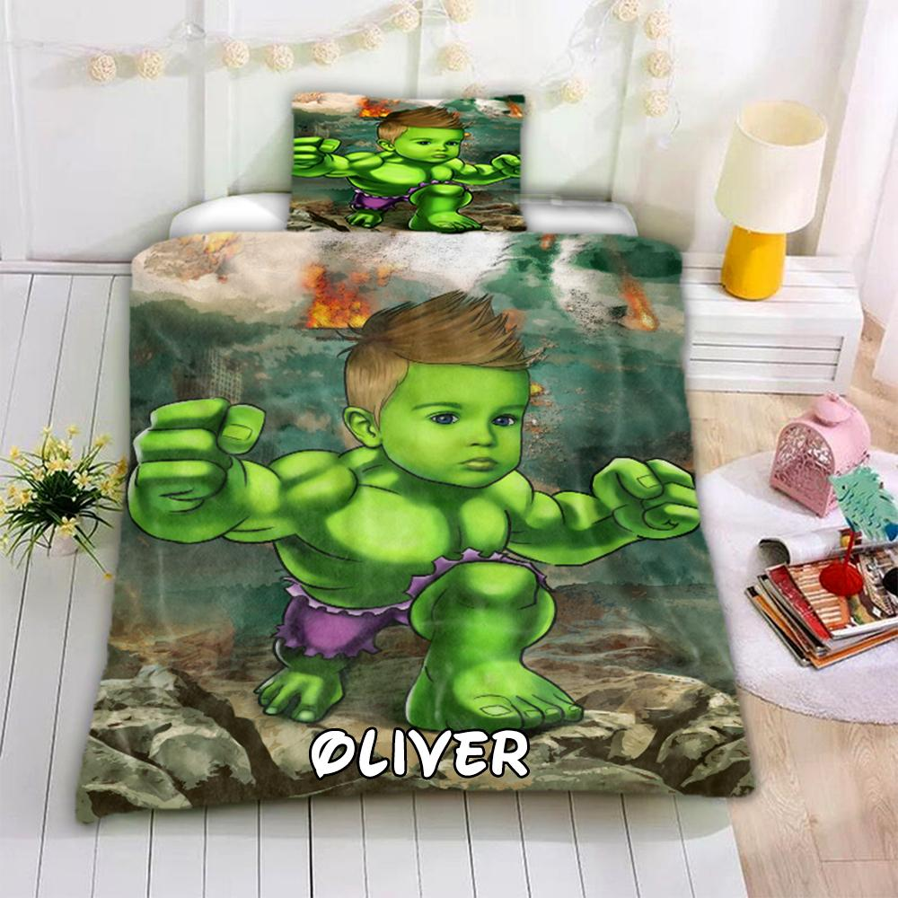 Personalized Hand-Drawing Kid's Photo Portrait Cozy Microfiber Bedding Set III