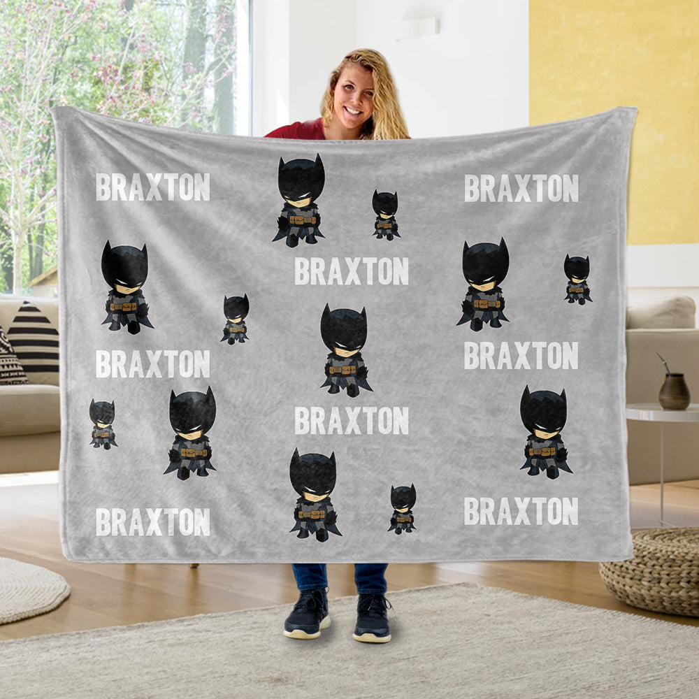 Personalized Name Hero Cozy Plush Fleece Blankets IV - BUY 2 SAVE 10%