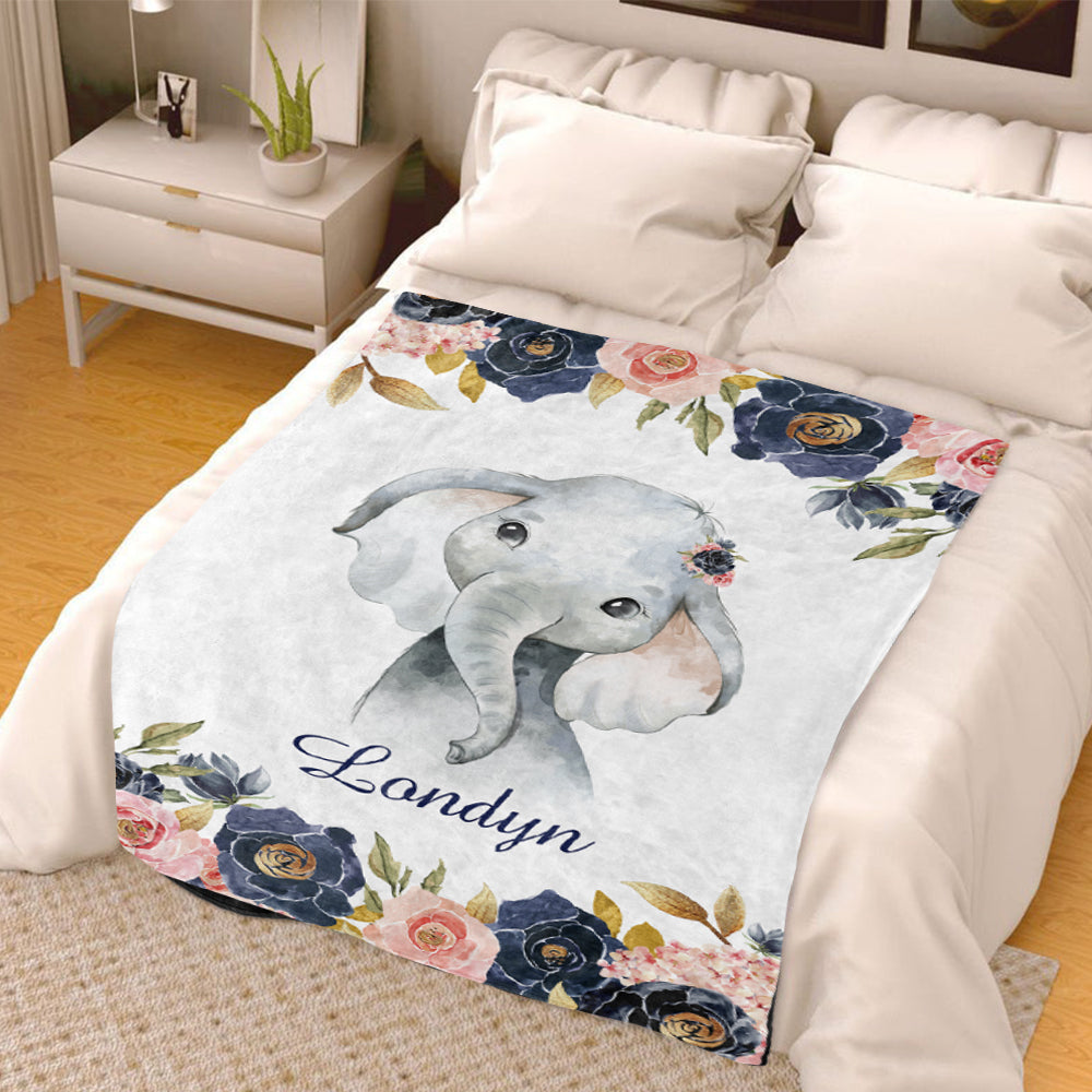 Custom Watercolor Elephant Cozy Plush Fleece Blanket