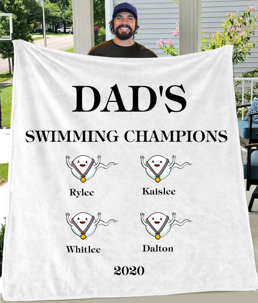 DAD'S SWIMMING CHAMPIONS Custom Name Fleece Blankets - Perfect Birthday Holiday Gifts for Dad