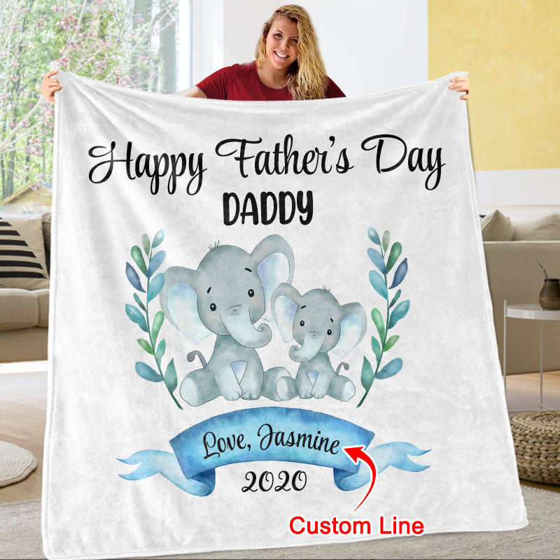 Personalized Elephant Father's Day Fleece Blankets