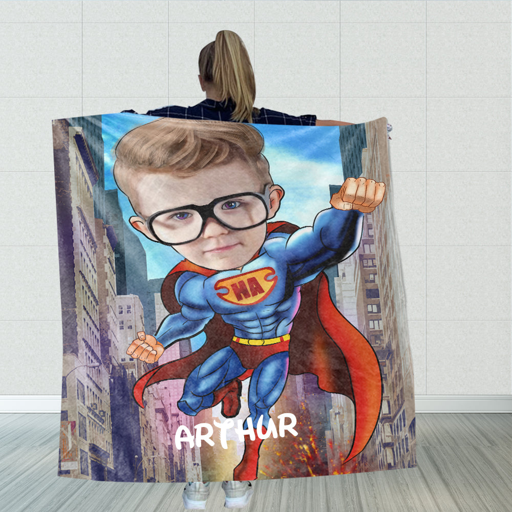 Personalized Hand-Drawing Kid's Photo Portrait Fleece Blanket VII-BUY 2 SAVE 10%