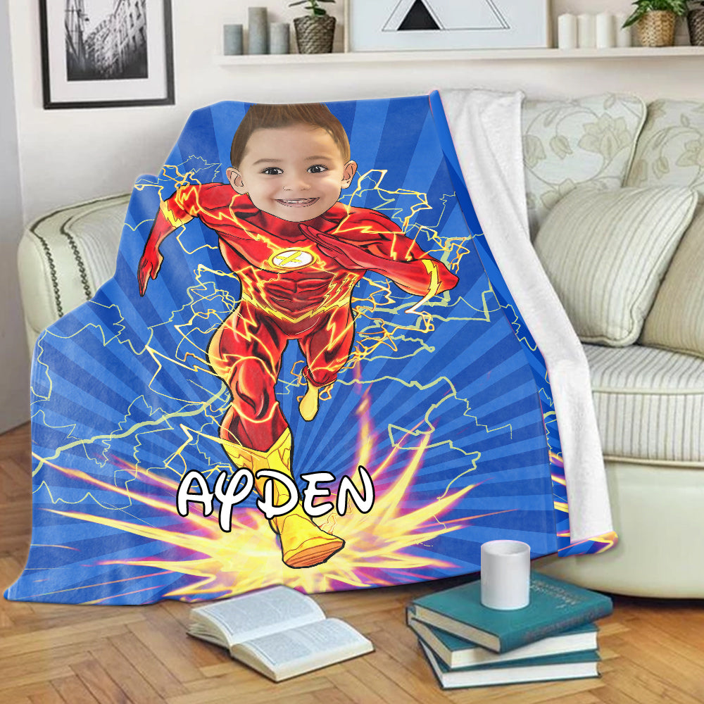 Personalized Hand-Drawing Kid's Photo Portrait Velveteen Plush Blanket XXIV - Made in USA