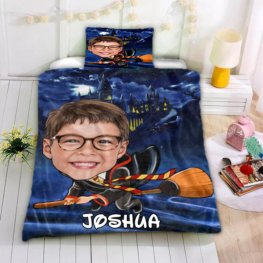 Personalized Hand-Drawing Kid's Photo Portrait Cozy Microfiber Bedding Set XIII