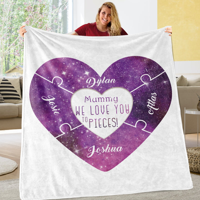 Custom Love You To Pieces Blankets Personalized Cozy Plush Fleece Blanket with Your Nick & Kids' Names - BUY 2 SAVE 10%