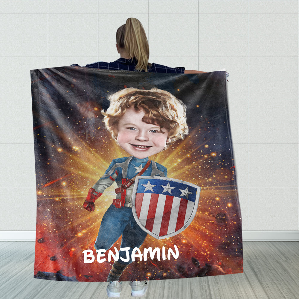 Personalized Hand-Drawing Kid's Photo Portrait Fleece Blanket II-BUY 2 SAVE 10%