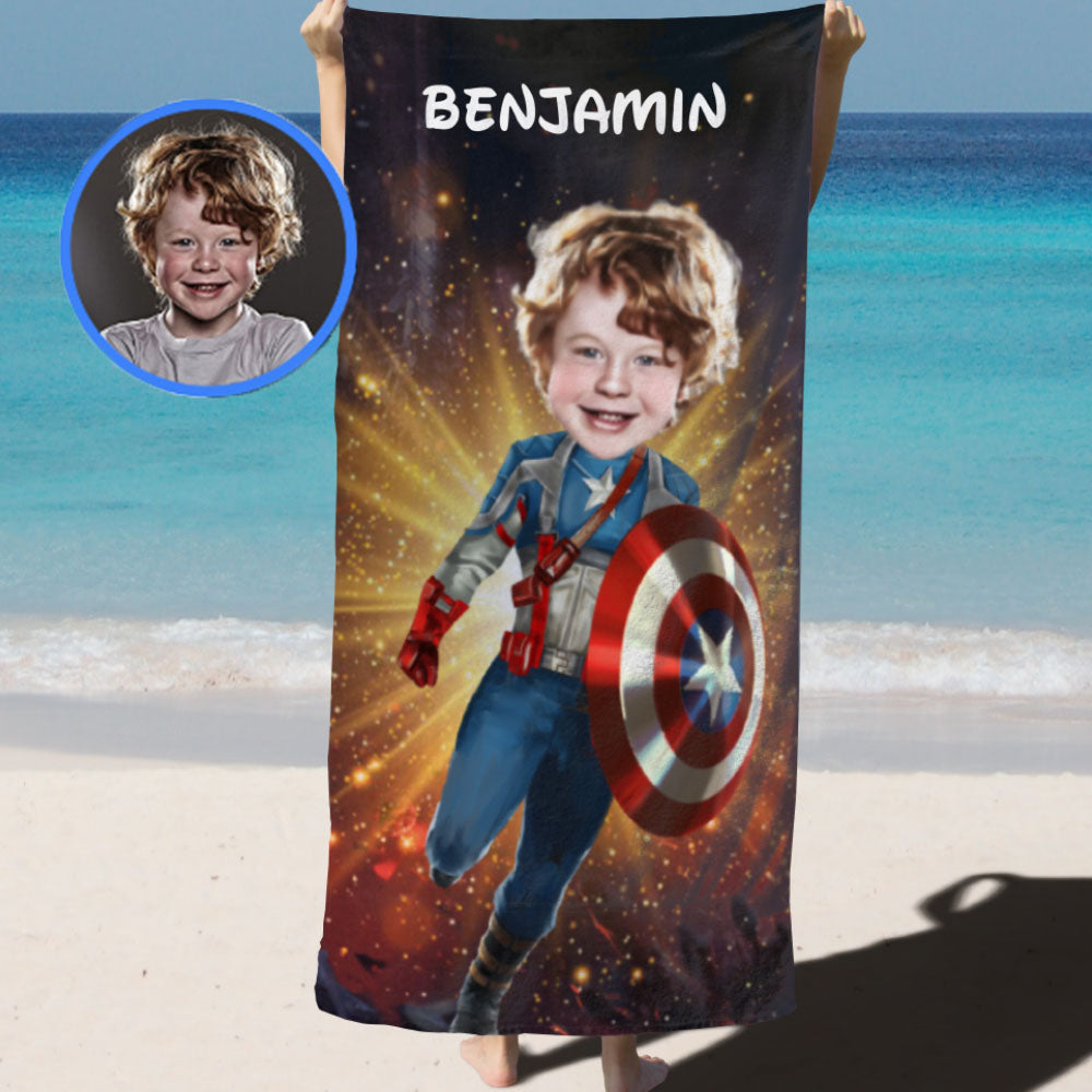 Personalized Hand-Drawing Kid's Photo Portrait Beach Towel III-BUY 2 SAVE 10%