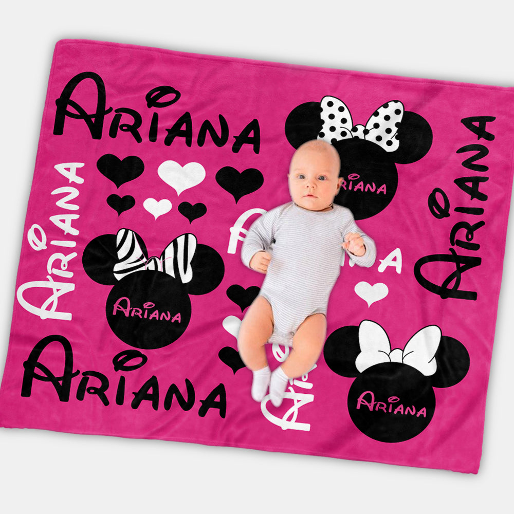 Personalized Pink Baby Girl Mickey Mouse Nursery Blanket - Made in USA