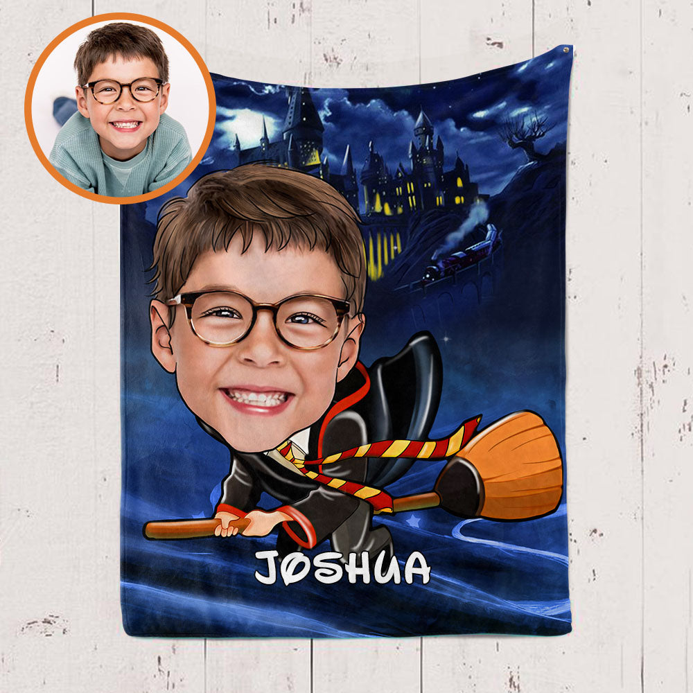 Personalized Hand-Drawing Kid's Photo Portrait Velveteen Plush Blanket IX - Made in USA