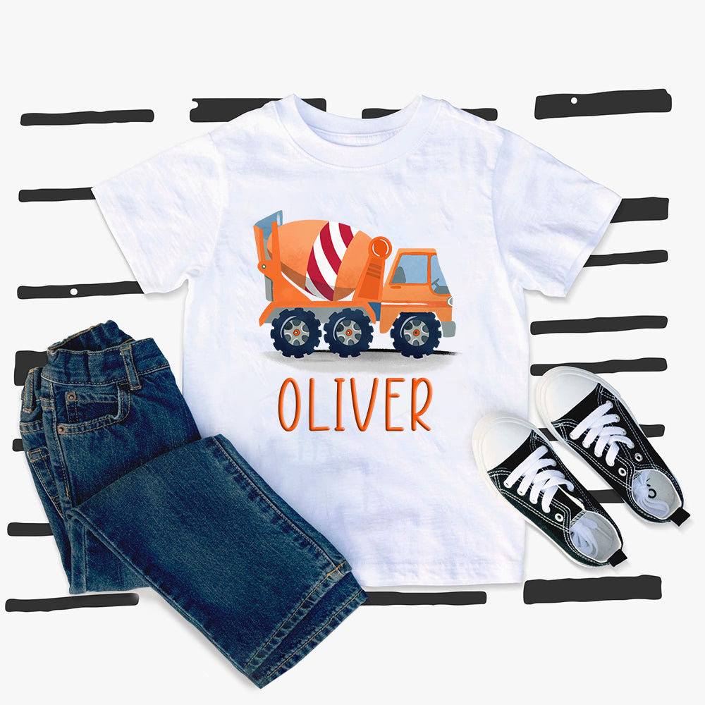 Custom Name Construction Truck Kids Heavy Cotton Tee V