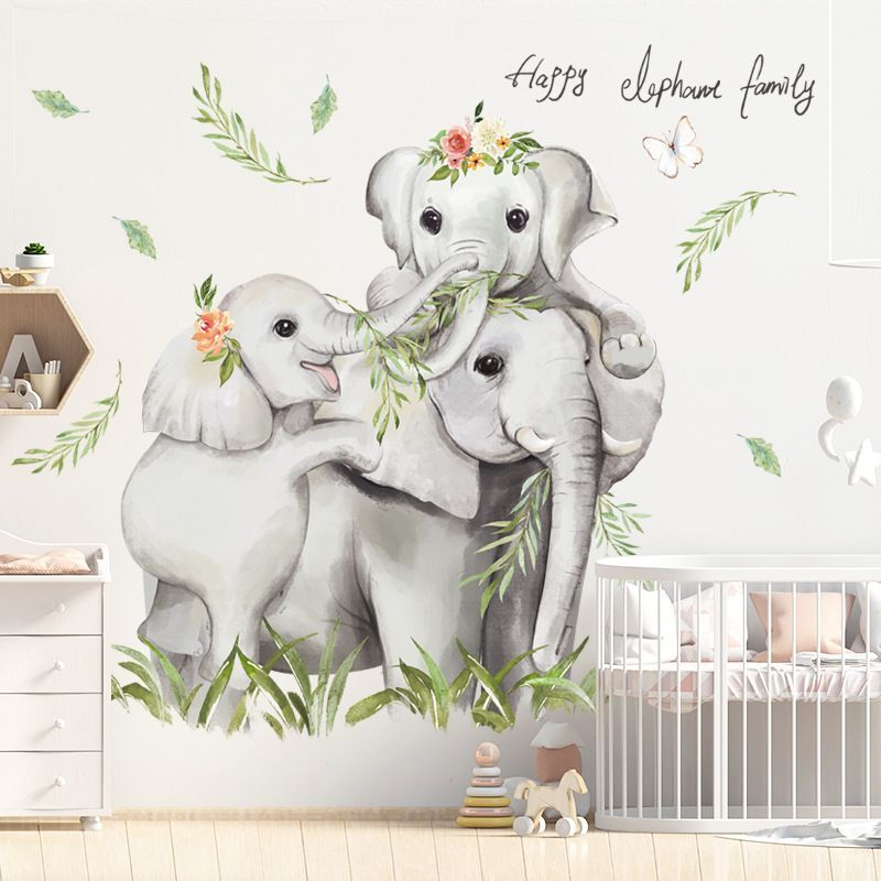 Removable Elephants Decals Home Decoration Elephant Wall Stickers Wall Art Decal 06
