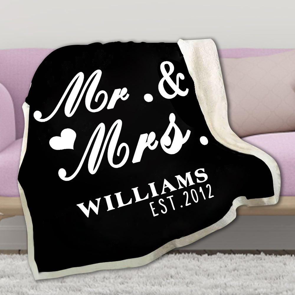 Personalized Mr & Mrs Fleece Blanket