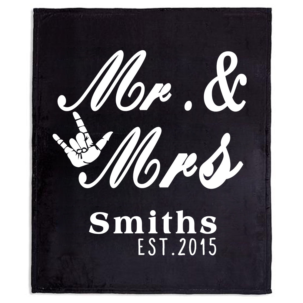 Personalized Rocking Mr & Mrs Fleece Blanket