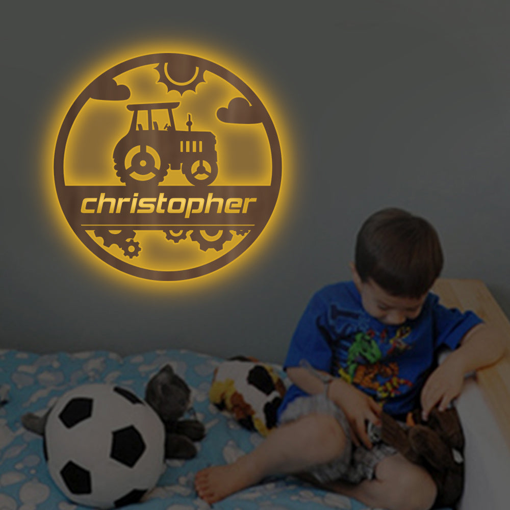 Personalized 7-Color Truck Wooden Wall Light-Custom Name Home Nursery Boy Kids Room Decor