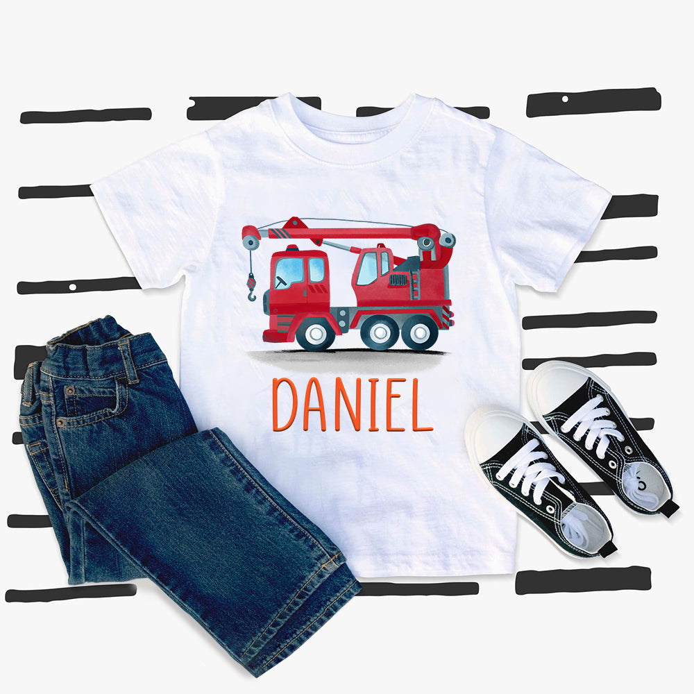 Custom Name Construction Truck Kids Heavy Cotton Tee VII