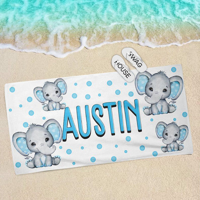 Personalized Kids Boy Elephant Beach Towel, Personalized Towel, Custom Kids Towel, Towel for Kids, Monogram Towel