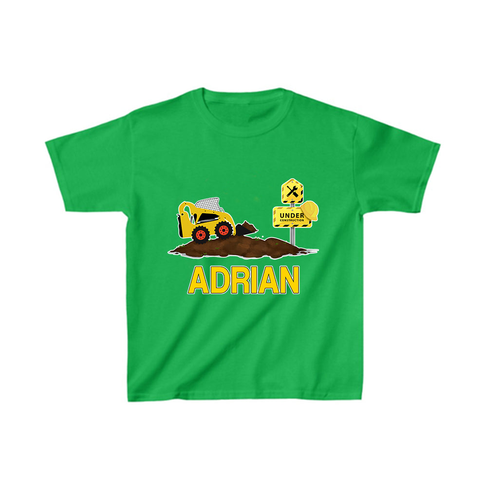 Custom Name Construction Truck Kids Heavy Cotton Tee