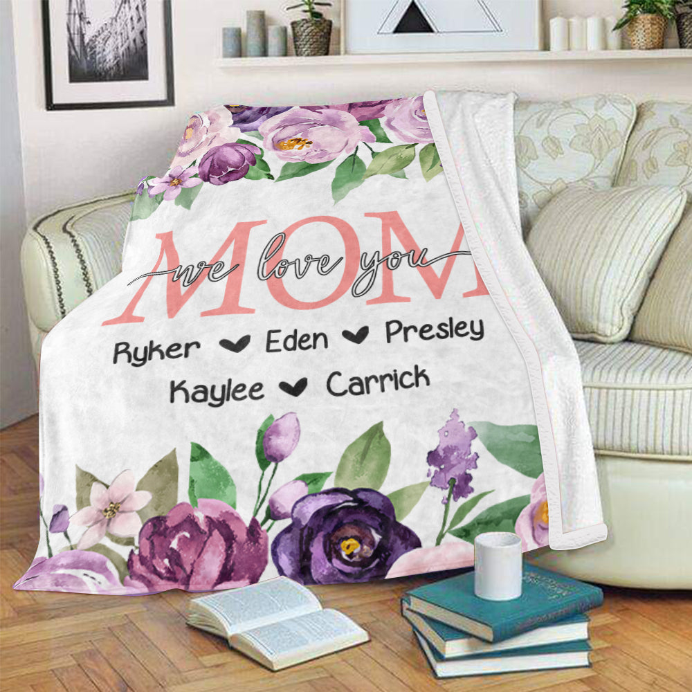 Personalized Purple Floral Cozy Plush Fleece Blankets with Your Nick & Kids' Names - BUY 2 SAVE 10%