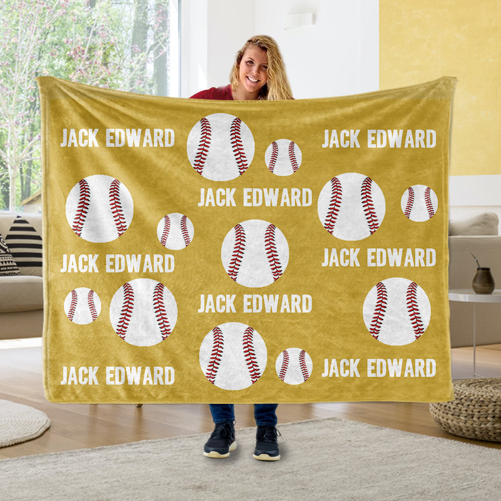 Personalized Name Baseball Cozy Plush Fleece Blankets - BUY 2 SAVE 10%