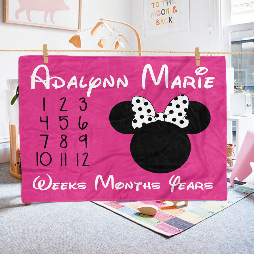 Personalized Pink Baby Girl Mickey Mouse Monthly Milestone Blanket,Baby Shower Gift - Made in USA