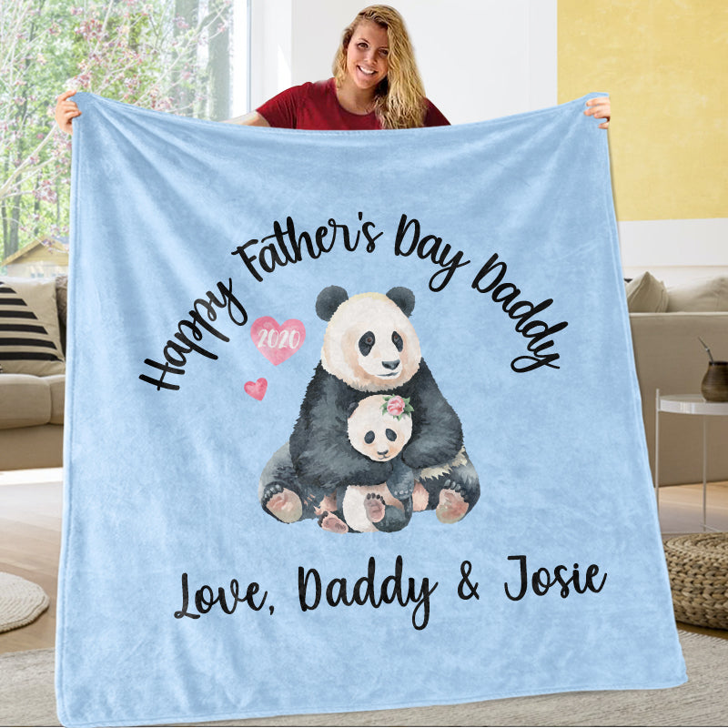 Personalized Panda Father's Day Fleece Blankets / Baby Onesies / Daddy Shirts