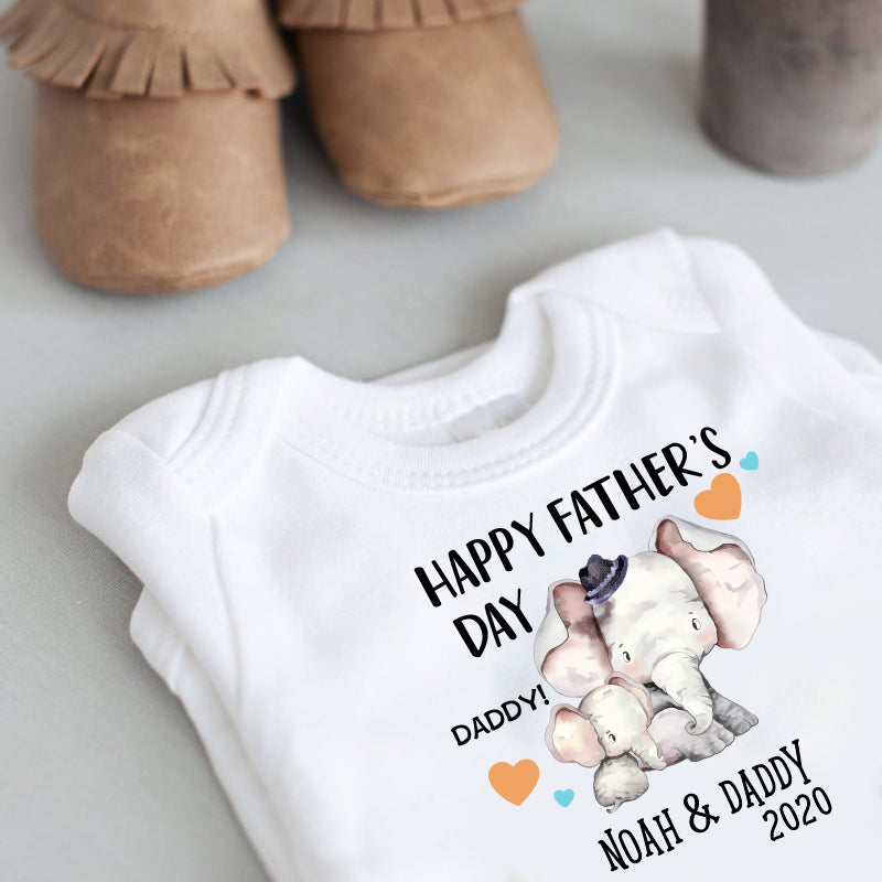 Custom Elephant Father's Day Fleece Blankets / Baby Onesies / Dad Shirts