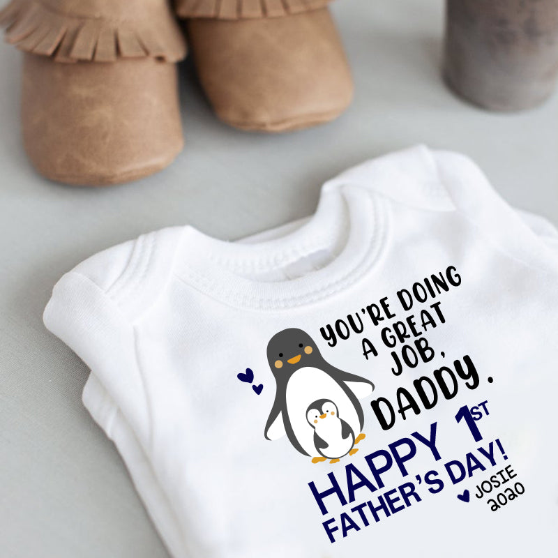 Personalized Penguin Father's Day Baby Onesies and Matching Daddy Shirts