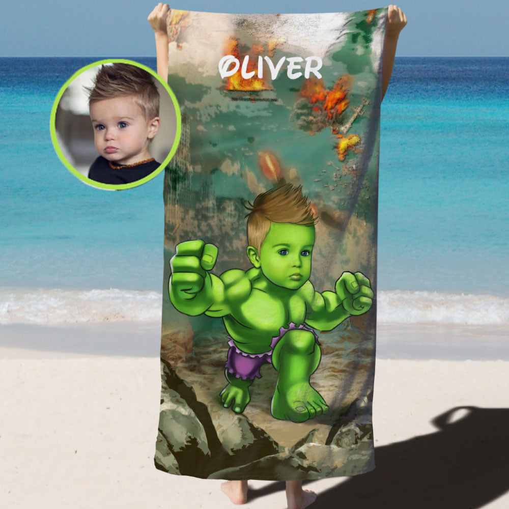 Personalized Hand-Drawing Kid's Photo Portrait Beach Towel I-BUY 2 SAVE 10%