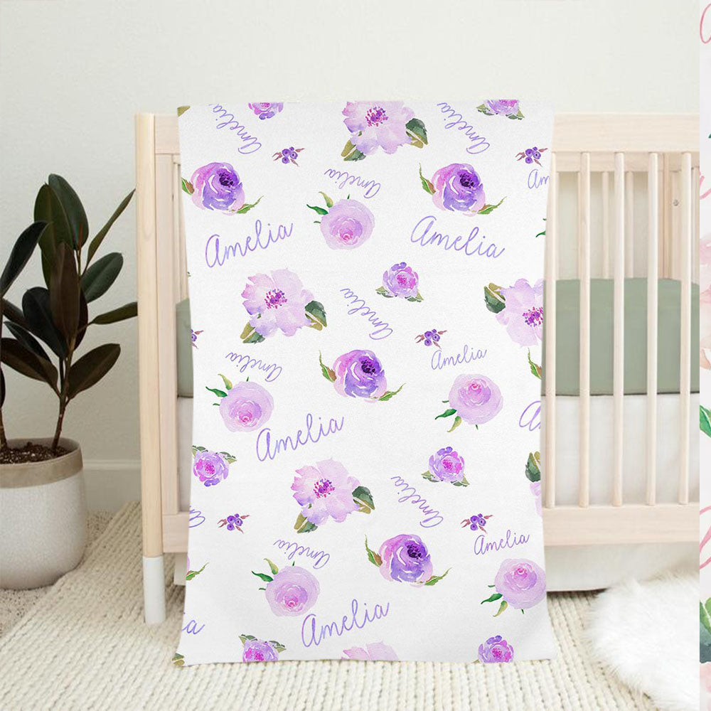 Personalized Light Purple Floral Baby Girl Name Blanket-BUY 2 SAVE 10%