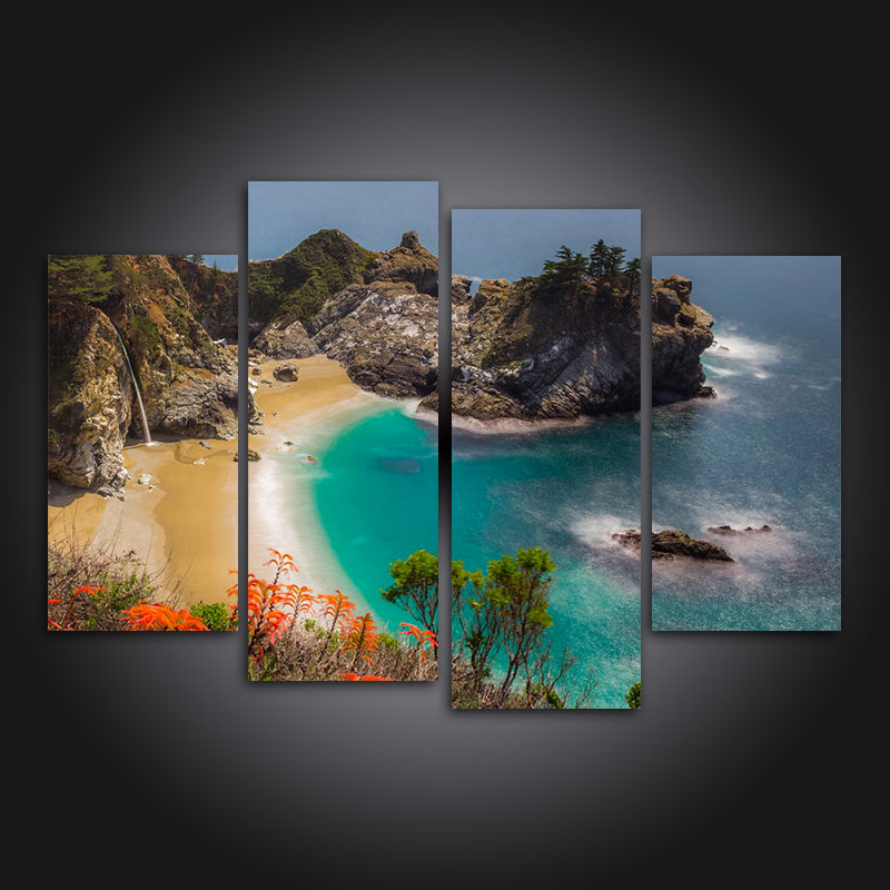 McWay Falls 4 Panel Canvas Art Painting Modern Home Decor