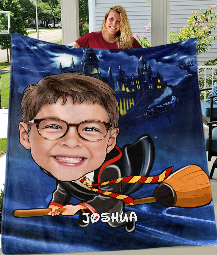 Personalized Hand-Drawing Kid's Photo Portrait Fleece Blanket IX-BUY 2 SAVE 10%