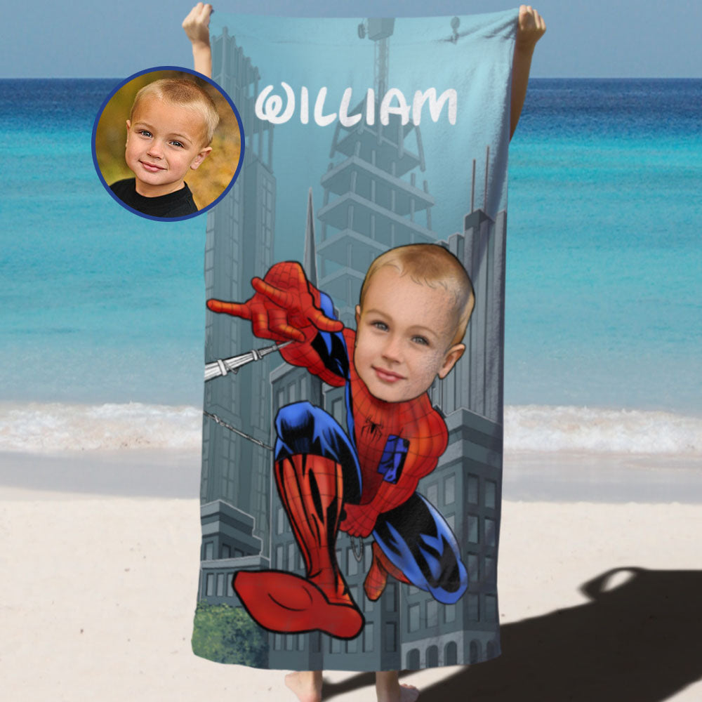 Personalized Hand-Drawing Kid's Photo Portrait Beach Towel II-BUY 2 SAVE 10%