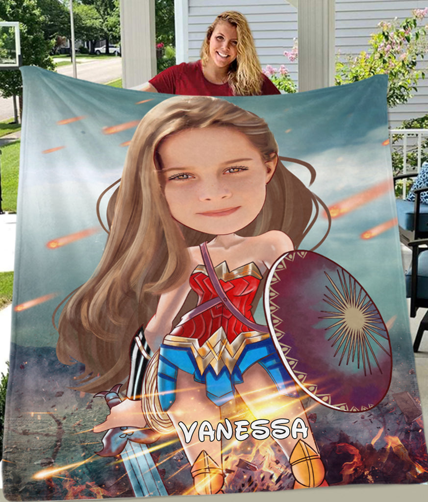 Personalized Hand-Drawing Kid's Photo Portrait Fleece Blanket X-BUY 2 SAVE 10%