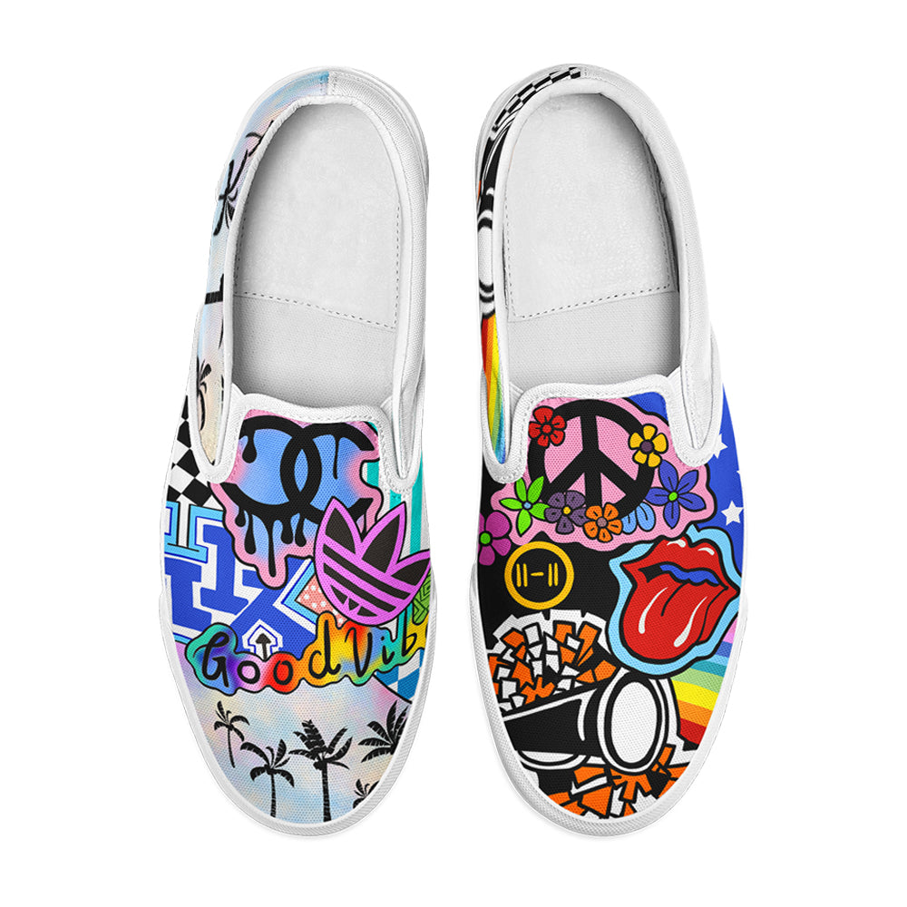 Personalize Unisex Peace And Love Slip-On Shoes / Canvas Shoes