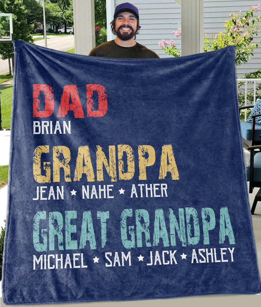 DAD GRANDPA GREAT GRANDPA Custom Title Children Names Fleece Blankets - Perfect Birthday Holiday Gifts for Dad Uncle & Grandpa