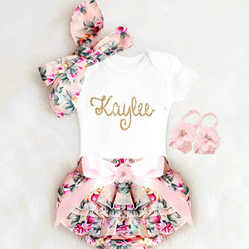 Personalized Baby Girl Clothes, Newborn Girl Coming Home Outfit, Personalized Baby Girl Outfits, Baby Girl Clothes Summer Newborn Girl Outfit Bloomers