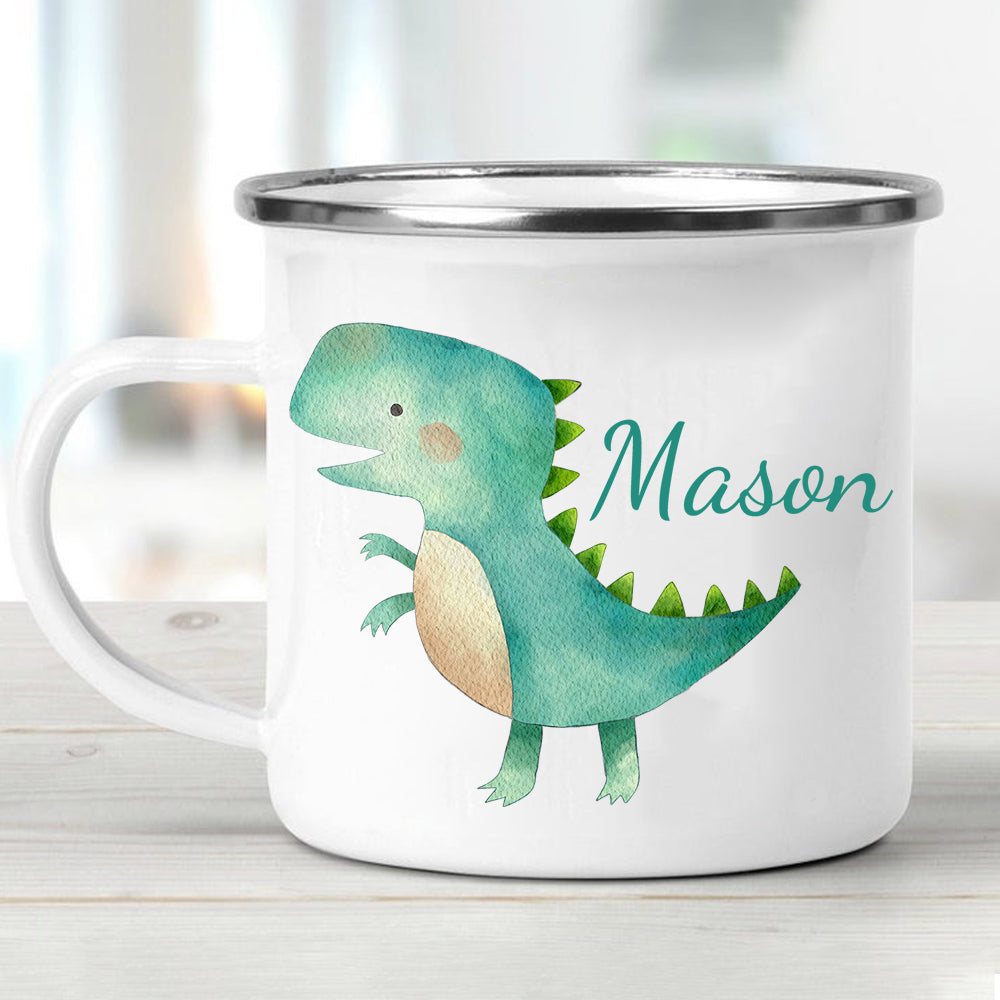 Custom Name Dinosaur Children's Enamel Campfire Mug Ⅻ