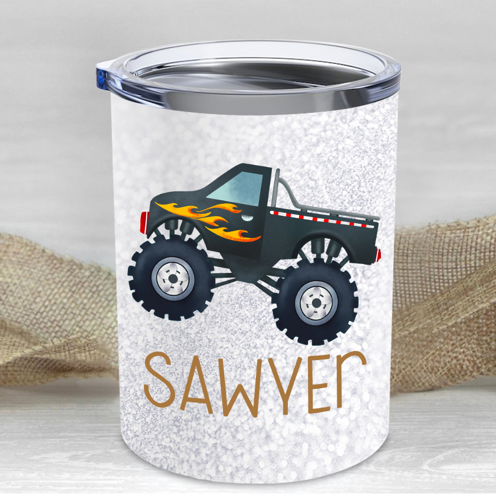 Custom Name Monster Truck Children's Travel Drink Tumbler 10oz I