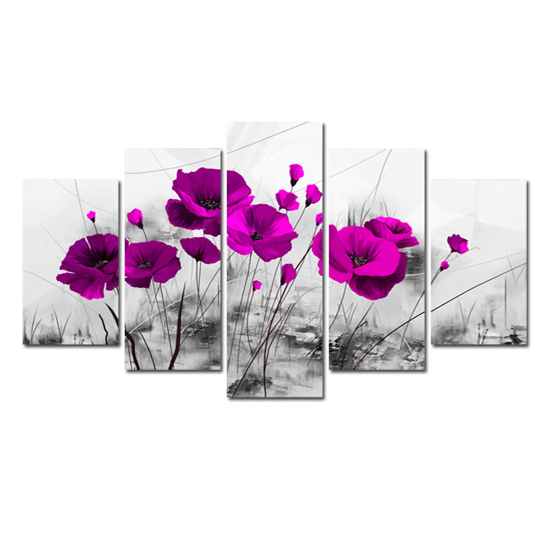 Purple Floral 5 Panel Canvas Art Painting Modern Home Decor
