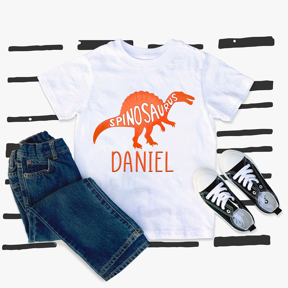 Custom Name Dinosaur Kids Heavy Cotton Tee III