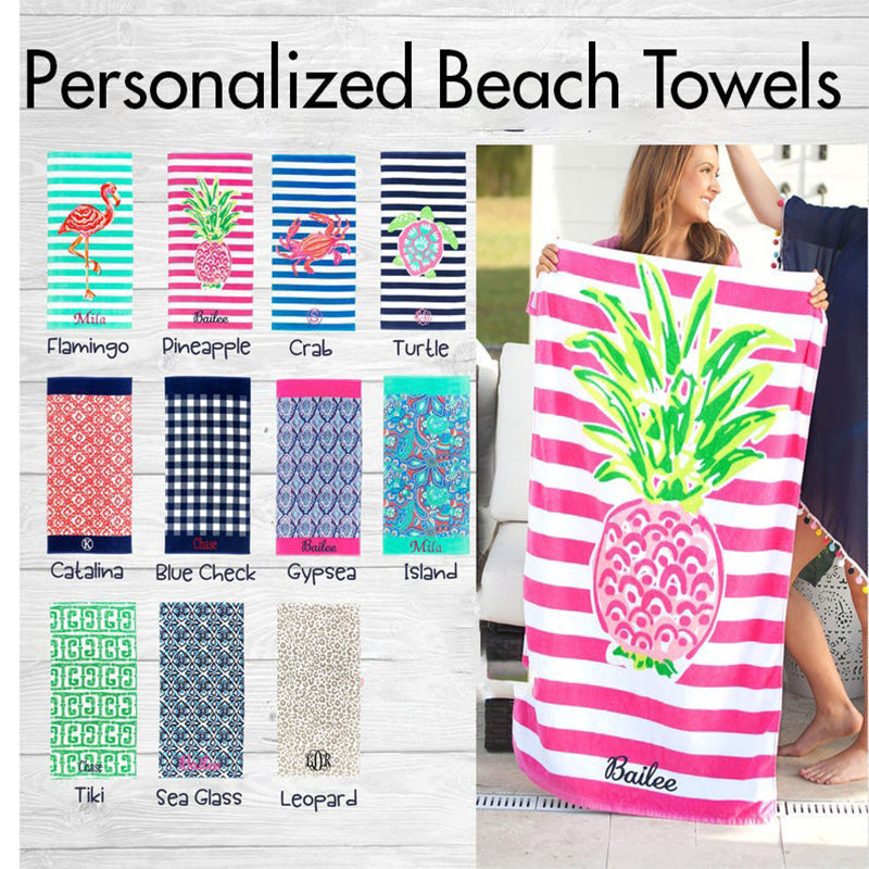 Personalized Monogrammed Beach Towel, Custom Name Sun Blanket