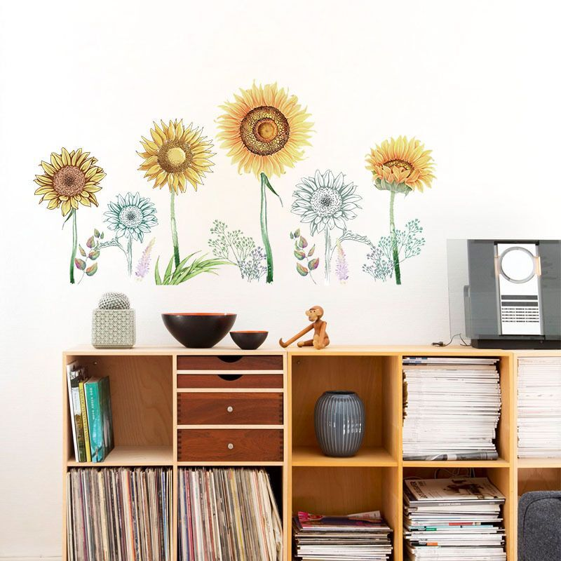 Removable Sunflowers Decals Home Decoration Flower Wall Stickers Wall Art Decal 04